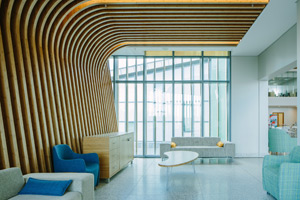 Bamboo slatted ceilings at Baywest
